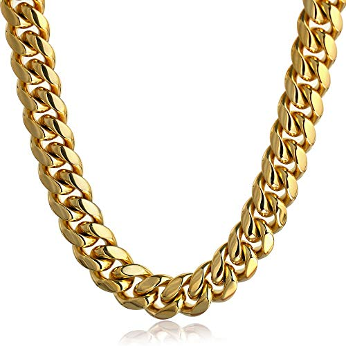PY Bling Mens Miami Cuban Link Chain Choker 18k Solid Gold Plated Hip Hop Stainless Steel 10mm-14mm Thick Necklace/Bracelet (14mm,22)