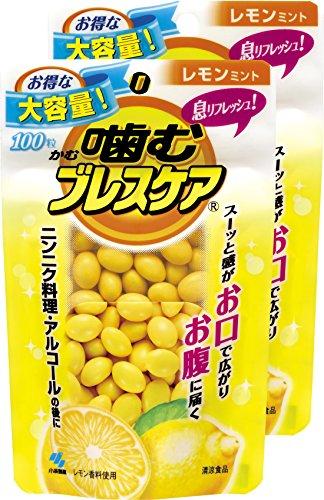 [씹어먹는 구강청결제 브레스 케어(Breath care)] 입냄새 제거 식리프레시 구미(젤리) 레몬 민트 파우치 타입 실속있는 대용량 100알×2개(200알)