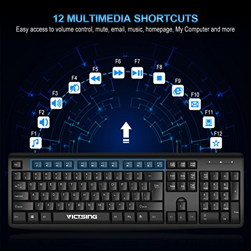 VicTsing Spill-Resistant Wired Keyboard, Computer USB Keyboard with 5 Feet USB Cable and Foldable Stands, Support Windows 10/8/7/Vista/XP, Mac, Linux, Black by VicTsing (Image #2)