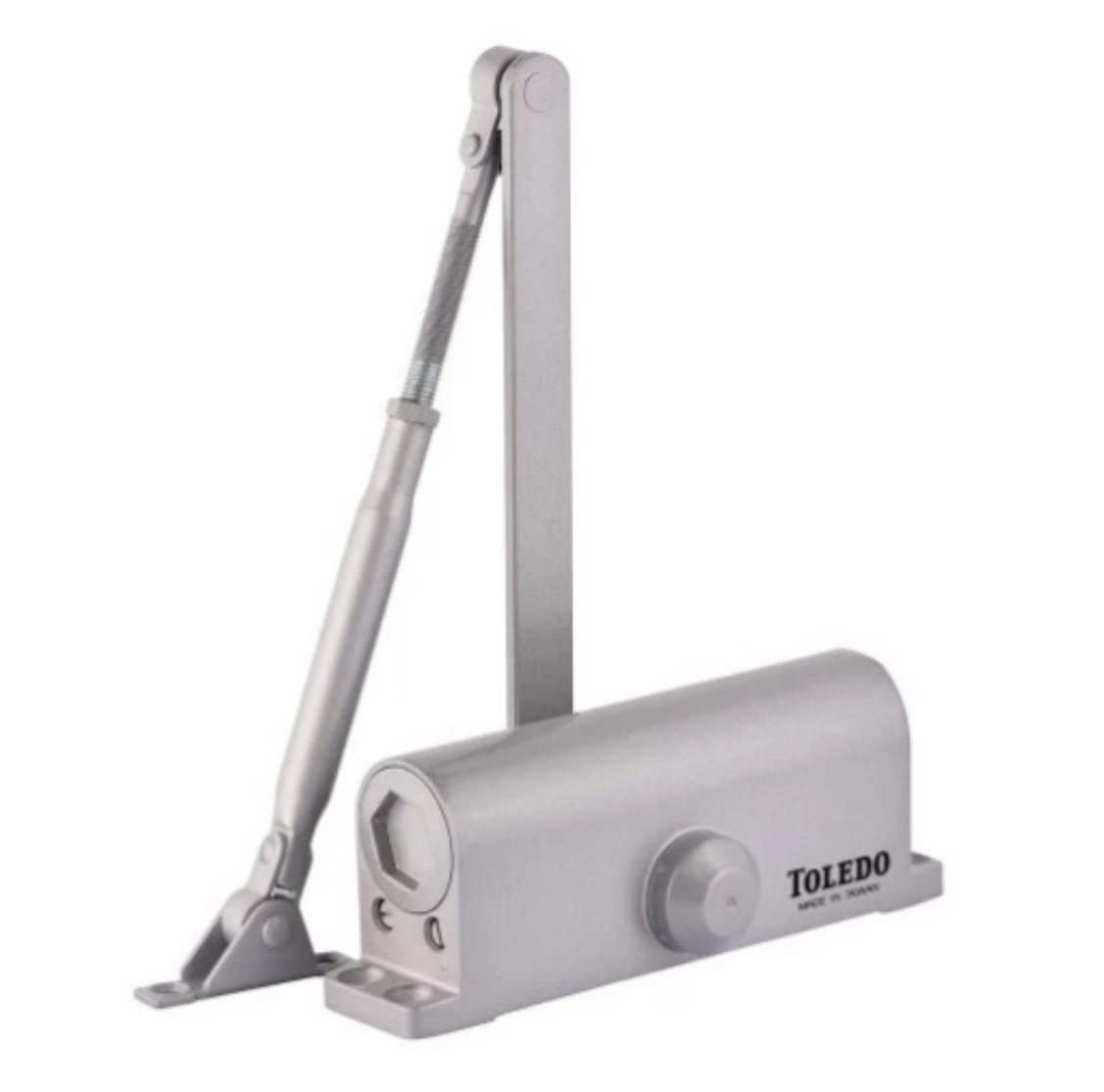 Door Closer Aluminum/Silver / Gray TC3 : Size 3 Spring : For Wood, Metal Or Commercial Glass Glass Residential - Commercial Doors : Self Closing Automatic Door Closer : By TOLEDO