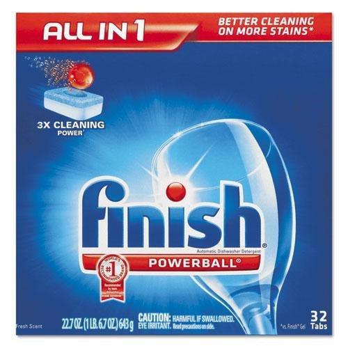 RECKITT BENCKISER PROFESSIONAL Powerball Dishwasher Tabs, Fresh Scent, 32/Box (81049)
