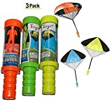 Toys+ Skydiver Parachute Men 3 Piece Set- Tangle Free With Launcher (Colors and Styles May Vary)