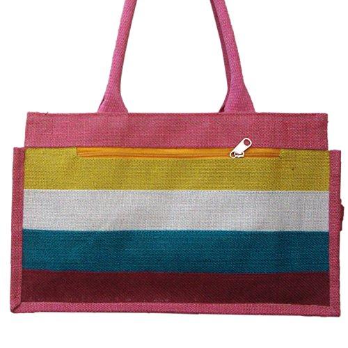 Gestreiftes Muster Einkaufs cum Abend Jute-Tasche mit Baumwollschnur Handgriff