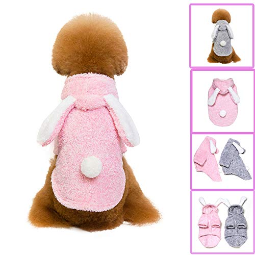 Glumes Pet Clothes, Puppy Hoodie Sweater Dog Coat Bunny Ears Warm Sweatshirt Flannel Shirt for Small Dog Medium Dog Or Cat (M, Pink) ()