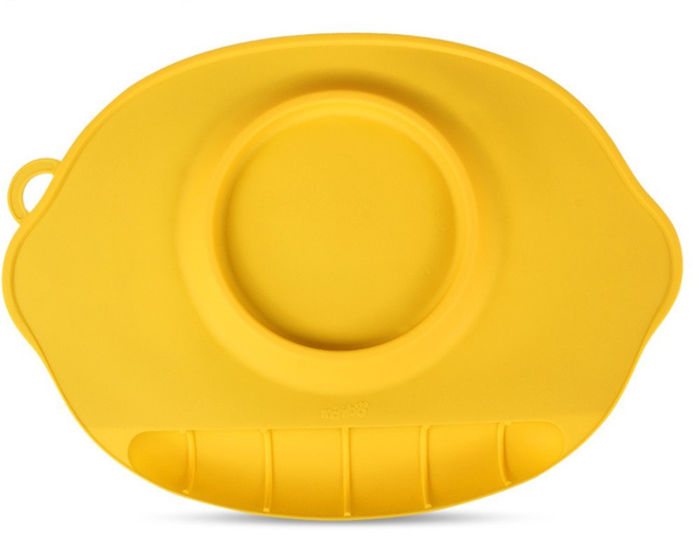 LLZJ Babies Silicone Suction Bowl Suction Stay Put Placemat Antidérapant Anti-Fall Toddler Training Feeding Dishes Tableware Children's Cutlery,Yellow