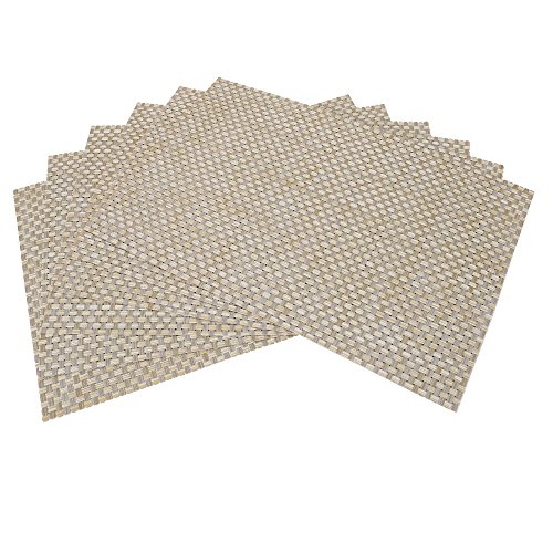 Tennove Placemats for Kitchen Table Washable Table Mats Woven Vinyl Dining Table Placemats Set of 6 (Beige)