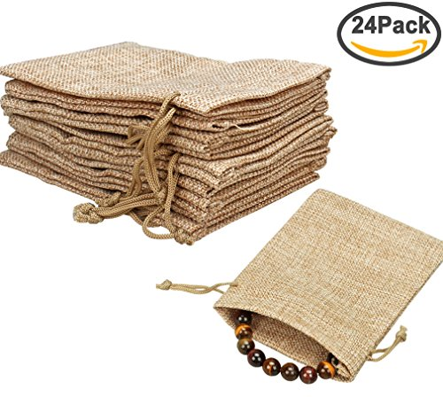 Amariver Natural Burlap Bags with Drawstring, Reusable Linen Pouches, Perfect for Jewelry Pouch, Wedding Birthday Parties Favor, Gift/Candy Bags, Set of 24 - Personalized Jewelry Pouch