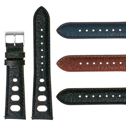 Leather 70's Watch Band (DASSARI Vintage 70's Leather Rally Strap Quick Release Watch Band 18mm 19mm 20mm 21mm 22mm)