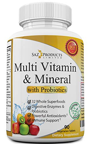 Whole Food MultiVitamin & Mineral Plus Probiotic Enzymes - Increased Energy, Combats Fatigue, Eliminates Brainfog & Easy on Digestion for Men & Women - Non-GMO - 90 Tablets ()
