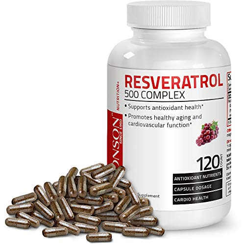 : Resveratrol 500 Complex Red Wine Extract Natural Antioxidant Supplement for Cardiovascular & Immune System Health, 120 Capsules