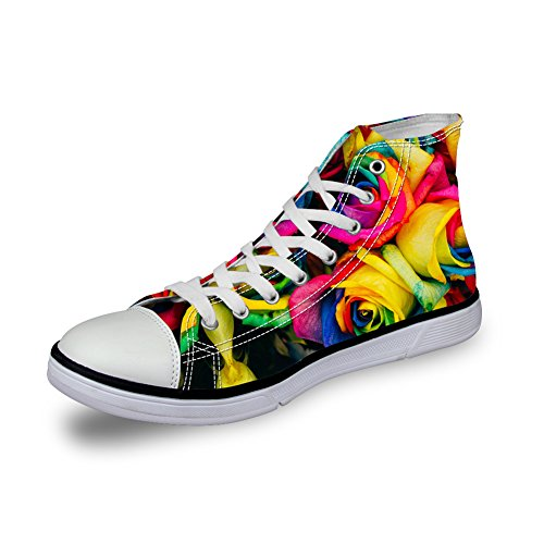 CHAQLIN Women Ladies Floral Design Funky Hi-Top Canvas Senakers Casual Shoes Rose vXo2z7WBR