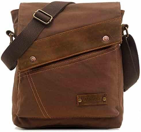 Aibag Unisex Messenger Bag, Vintage Small Canvas Shoulder Crossbody Purse