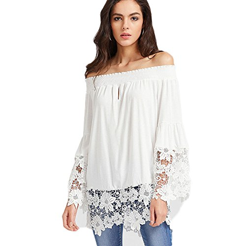 Women's Off Shoulder Top Long Sleeve Strapless Casual Loose Blouse(L)