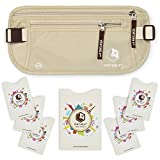 RFID Money Belt For Travel: The Trusted Hidden Waist Stash for Men and Women (Beige + RFID Sleeves)