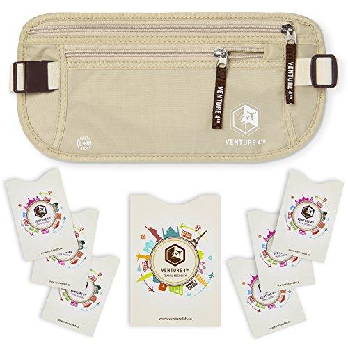VENTURE 4TH RFID Money Belt for Travel: The Trusted Hidden Waist Stash for Men and Women (Beige + RFID Sleeves)