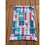 Nautical theme Dog Crate Pad with Lobsters Ships and Anchors Fits 24x36 Kennels