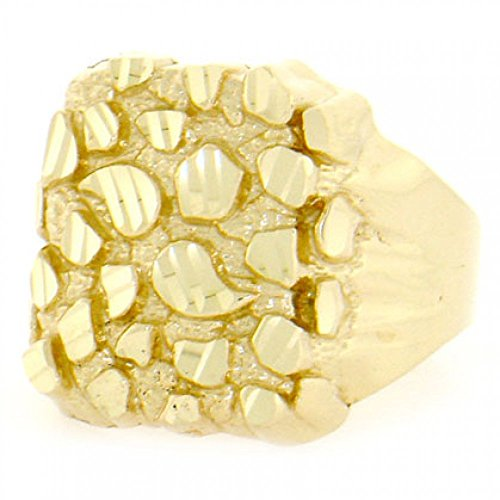 10k Solid Yellow Gold Nugget Diamond Cut Mens Ring