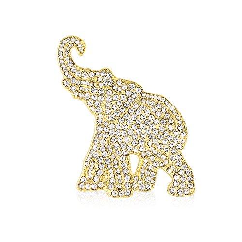 Rhinestone Elephant Brooch (Gold Tone)