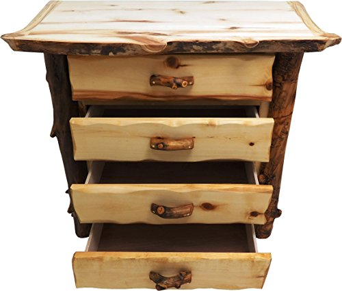 Mountain Woods Furniture Aspen Grizzly Collection 4 Drawer Chest, Tooled Leather Pull, Bronze Aspen Finish ()
