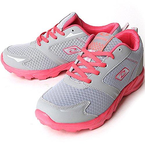 Nuovo Comfort Walking Womens Running Trainer Casual Sportivo Sportivo Scarpe Moda Grigio Rosa