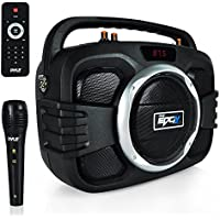Pyle Bluetooth Boombox Rugged Speaker System & Microphone with Built-in Rechargeable Battery, Recording Function, MP3/USB/FM Radio with Digital LED Display. (PWMA245BT)