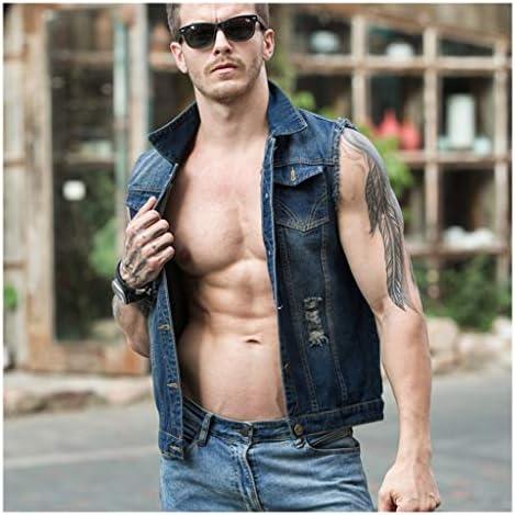 Vest Denim vest men's blue patch retro fashion trend street punk youth handsome couple sleeveless Cowboy Gilets (color : 2209, Size : XXL)