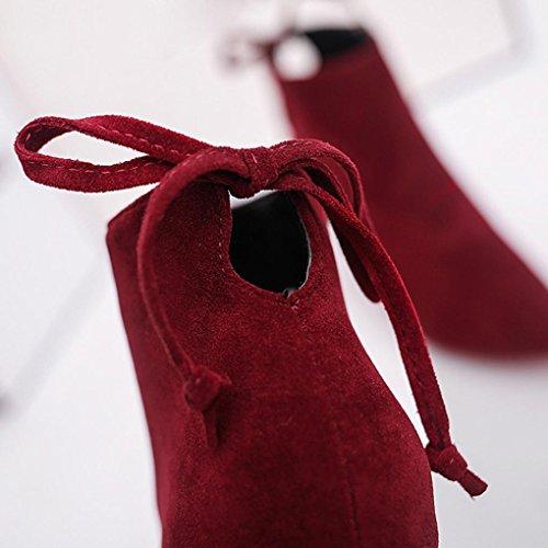 Clode® Stiefel Damen Kurze Zylinder Stiefel Stylish High Heel Stiefeletten Knöchel Knoten Winter Schuhe Wine