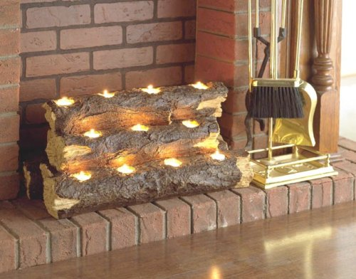SEI Resin Tealight Fireplace Log