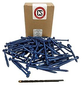 "Chenango Supply 3/16 x 2-3/4"" Hex Head Concrete Screw Anchor. 100 pieces With Drill Bit (Miami-Dade Compliant) (3/16 x 2-3/4)"