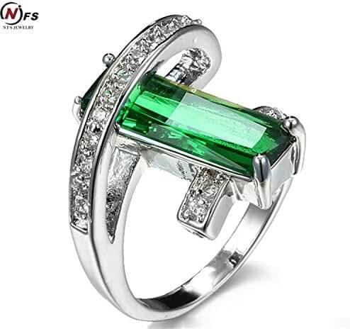 Myn Jewelry 5ct Russian Emerald Ring New Style Luxury Wedding Bride Fabulous Vintage Green Red Crystal Zircon Charm