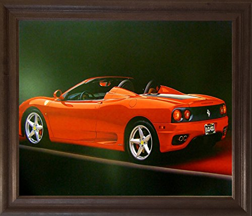 Red Ferrari 360 Modena Spider Sports Car Wall Brown Framed Picture Art Print (19x23) (Spider 360 Modena Ferrari)