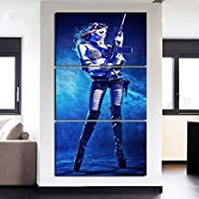 Wall Art for Living Room Canvas Prints Hot Sexy Pictures Open Photos Home Decor Modern Contemporary Awesome Girl with Gun Painting 3 Piece Set Gallery-wrapped Artwork Framed Stretched(28''Wx60''H)