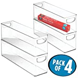 mDesign Plastic Stackable Kitchen Pantry Cabinet, Refrigerator or Freezer Food Storage Bins with Handles - Organizer for Fruit, Yogurt, Snacks, Pasta - BPA Free, 4 Pack, 16'' Long Containers, Clear