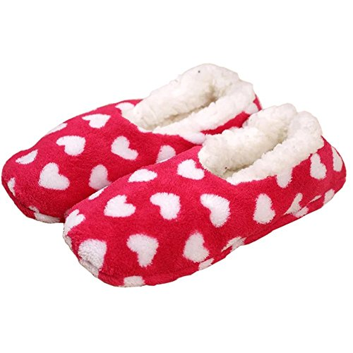YUTIANHOME Ladies Slippers Womens Indoor Boots Washable Soft Warm Non-Slip Flat Closed Toe Home Shoes Red SlWlW
