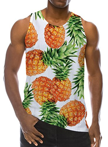 Loveternal Pineapple Pattern Funny Tank Top for Mens Slim Fit Athletic Muscle T-Shirts Sleeveless Gym Casual Tees XL