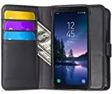 LG G7 Case, Ferlinso Elegant Genuine Real Leather with ID Credit Card Slot Holder Flip Cover Stand Magnetic Closure Case for LG G7 -Black