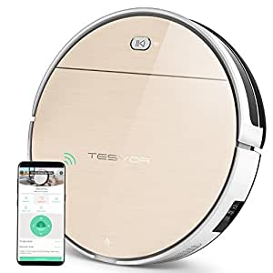 Robot Vacuum Cleaner, Tesvor Robotic Vacuum Cleaner with Comprehensive Plan Cleaning, Strong Suction for Thin Carpet and Hard Floor, Real-time Maps on APP with Wi-Fi Connection, Handheld Vacuum