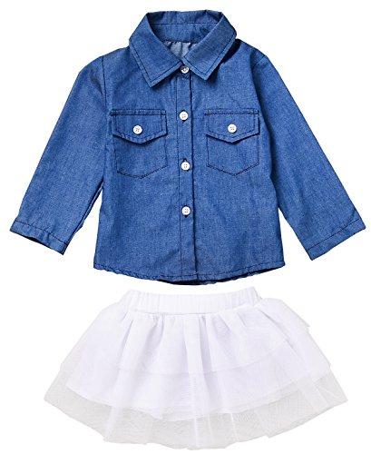 JUSUN 3PCS Baby Girls Long Sleeve Jean Shirt + Tutu Skirts Dress + Headband Outfits Set (Make Denim Skirt)