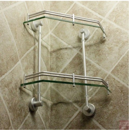 New Luxury Bathroom 2-Tier Glass Shelf Glass Shower Shelving Corner Aluminium by Bathroom Shelves (Image #4)