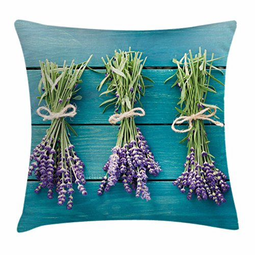 Lavender Throw Pillow Cushion Cover by Ambesonne, Fresh