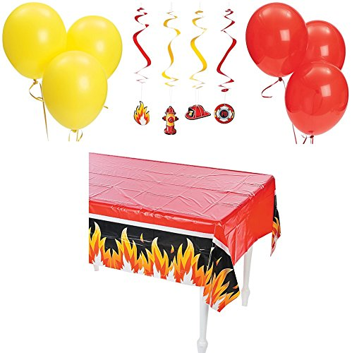 Fireman Hero Party Decorations Kit Bundle (1 Tablecover, 12 Firefighter Hanging Swirls & 12 Balloons) by FX -
