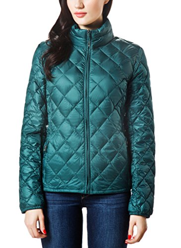 XPOSURZONE Women Packable Down Quilted Jacket Lightweight Puffer Coat Pinegreen S