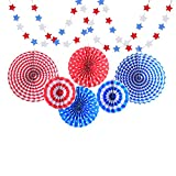 Paper Fans Party Decoration ,Colorful Hanging Paper Fans Set And Star Streamers Patrioticfor Party Birthday Events Supplies,Red/White/Blue