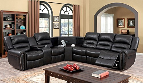 Sofa Recliner Reclining Sectional - Furniture of America Middleton Sectional 2-Recliner Sofa