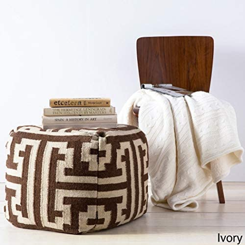 OS 1 Piece Ivory Square Shaped Small Ottoman, Geometric Pattern, Wool, Sturdy Subtle Design, Pouf Type Upholstery, White, Modern Themed Stylish Classic Elegant Contemporary Boho Chic Indie