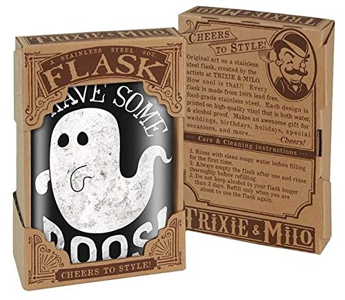 Have Some Boos! Paranormal Ghost Spooky Goth Goofy Halloween Costume Novelty - 8oz Stainless Steel Flask - come in a GIFT BOX - by Trixie & Milo