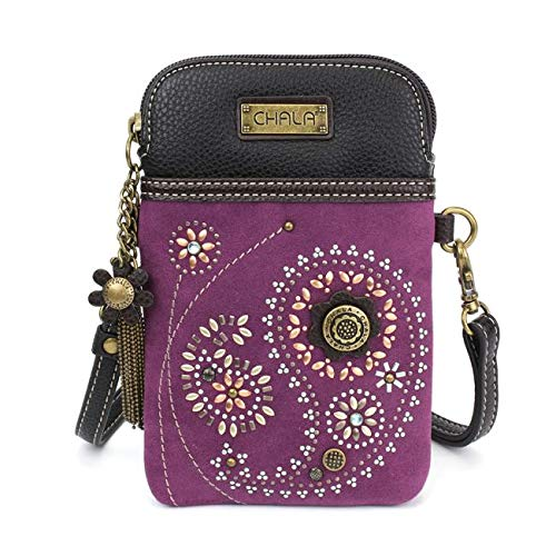 - Chala Dazzled Crossbody Cell Phone Purse - Women Faux Leather Multicolor Handbag with Adjustable Strap - Paisley Purple