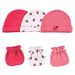 Luvable Friends 6-Piece Cap and Scratch Mittens Set, Ladybug