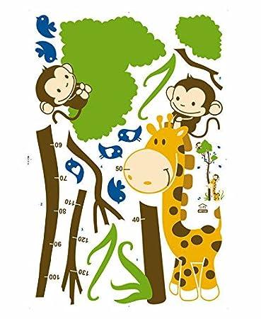Huge Giraffe Monkey Tree Kids Growth Chart Height Measure Wall Stickers Boy  Girl Kids Rooms Decoration Decals