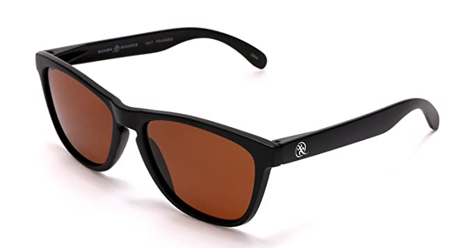68cf452c2d SAMBA SHADES Polarized New Cool Factor Wayfarer Sunglasses with Carbon  Black Frame and Brown Lens